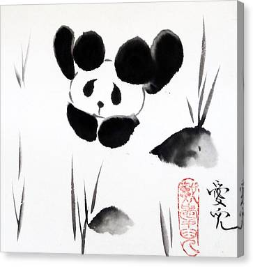 Panda Time Canvas Print by Oiyee At Oystudio