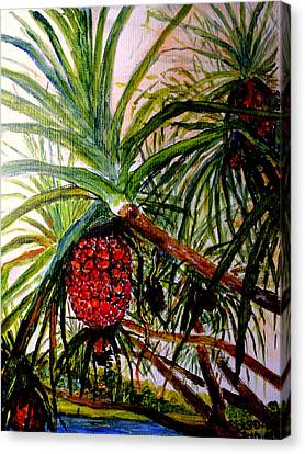 Canvas Print featuring the painting Pandanus Palm Fruit  by Jason Sentuf
