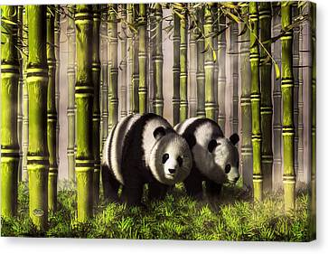 Pandas In A Bamboo Forest Canvas Print