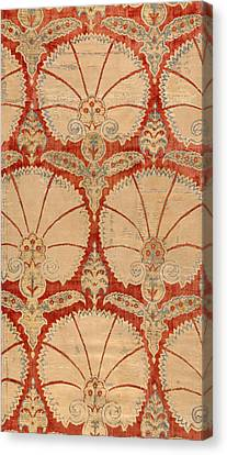 Panel Of Red Cut Velvet With Carnation Canvas Print by Turkish School