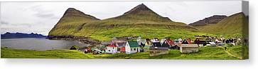 Panorama Of Gjogv Village Faroe Islands Canvas Print by David Smith