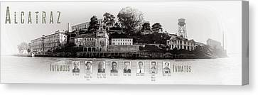 Panorama Alcatraz Infamous Inmates Black And White Canvas Print by Scott Campbell