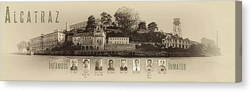 Panorama Alcatraz Infamous Inmates Sepia Canvas Print by Scott Campbell