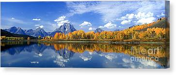 Panorama Fall Morning At Oxbow Bend Grand Tetons National Park Canvas Print by Dave Welling
