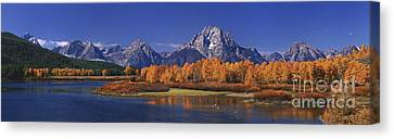 Canvas Print featuring the photograph Panorama Fall Morning Oxbow Bend Grand Tetons National Park Wyoming by Dave Welling