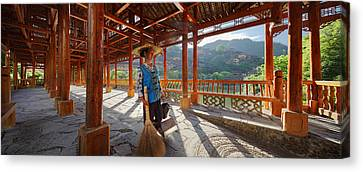 Canvas Print featuring the photograph Panorama - Hi-res - Wooden Bridge And It's Cleaner by Afrison Ma