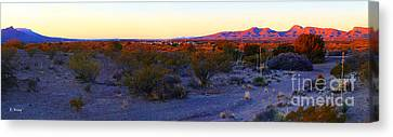 Panorama Morning View Of Mountains Canvas Print by Roena King