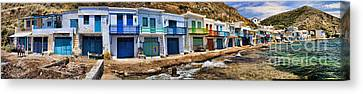 Panorama Of Tiny Colorful Fishing Huts In Milos Canvas Print by David Smith