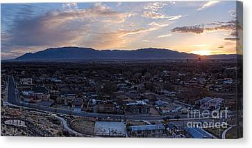 Panorama Of Albuquerque And Sandia Mountain At Sunrise From Pat Hurley Park - Albuquerque New Mexico Canvas Print by Silvio Ligutti