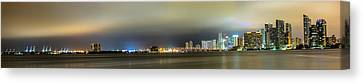 Panorama Of Biscayne Bay In Miami Florida Canvas Print by Andres Leon