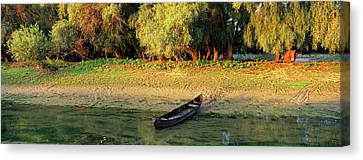 Flooding Canvas Print - Panorama Of Channel In The Danube Delta by Martin Zwick