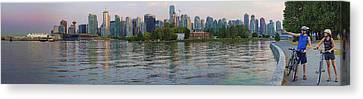 Stanley Park Canvas Print - Panorama Of Coal Harbour And Vancouver Skyline At Dusk by David Smith