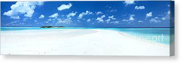 Panorama Of Deserted Sandy Beach And Island Maldives Canvas Print by Matteo Colombo
