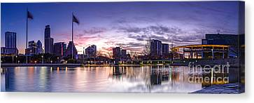 Panorama Of Downtown Austin At Dawn From The Long Center For Performing Arts - Texas Hill Country Canvas Print