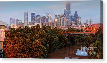 Panorama Of Downtown Houston At Dawn - Texas Canvas Print by Silvio Ligutti
