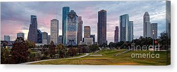 Panorama Of Downtown Houston From Eleanor Tinsley Park - Houston Texas Canvas Print
