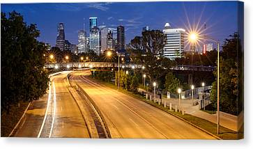 Panorama Of Downtown Houston With Super Moon Rising Behind - Houston Texas Canvas Print by Silvio Ligutti