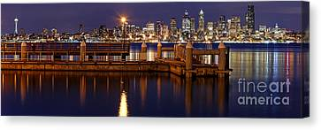 Panorama Of Downtown Seattle From Alki Beach - West Seattle Seacrest Park Washington State Canvas Print by Silvio Ligutti