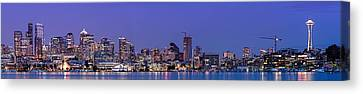 Panorama Of Downtown Seattle From Gasworks Park At Twilight Seattle - Washington Canvas Print by Silvio Ligutti