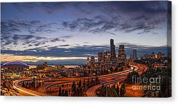 Panorama Of Downtown Seattle From Jose Rizal Park - Seattle Washington Canvas Print by Silvio Ligutti