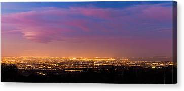 Panorama Of Dublin City At Blue Hour Canvas Print by Semmick Photo
