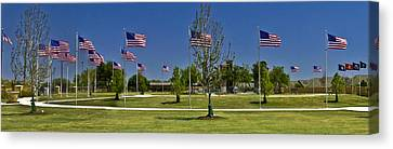 Canvas Print featuring the photograph Panorama Of Flags - Veterans Memorial Park by Allen Sheffield