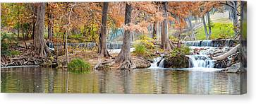 Panorama Of Guadalupe River In Hunt Texas Hill Country Canvas Print by Silvio Ligutti