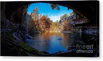 Panorama Of Hamilton Pool In The Fall - Austin Texas Hill Country Canvas Print by Silvio Ligutti