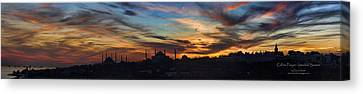 Panorama Of Istanbul Sunset- Call To Prayer Canvas Print
