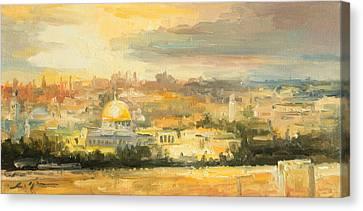 Jerusalem Canvas Print - Panorama Of Jerusalem by Luke Karcz