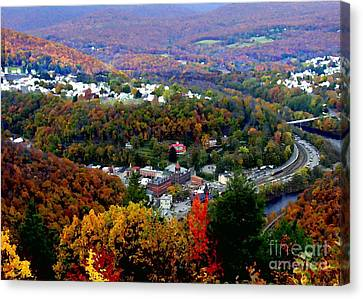 Panorama Of Jim Thorpe Pa Switzerland Of America - Abstracted Foliage Canvas Print by Jacqueline M Lewis