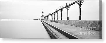 Panorama Of Michigan City Lighthouse Black And White Photo Canvas Print