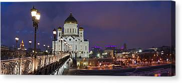 Panorama Of Moscow Cathedral Of The Christ The Savior - Featured 3 Canvas Print by Alexander Senin