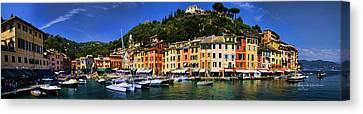 Portofino Italy Canvas Print - Panorama Of Portofino Harbour Italian Riviera by David Smith
