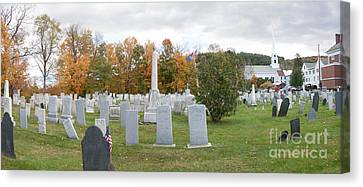 Panorama Of Stowe Community Church Cemetary Stowe Vermont Canvas Print by Thomas Marchessault
