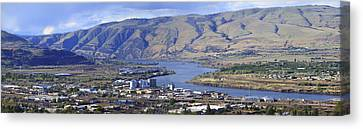 Panorama Of The Dalles Oregon. Canvas Print by Gino Rigucci