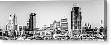 Ballpark Canvas Print - Panorama Picture Of Cincinnati Skyline by Paul Velgos