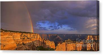 Canvas Print featuring the photograph Panorama Rainbow Over Cape Royal North Rim Grand Canyon National Park by Dave Welling
