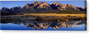 Canvas Print featuring the photograph Panorama Reflections Sawtooth Mountains Nra Idaho by Dave Welling