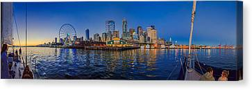 Panorama Seattle Skyline 2 Boats And A Ferris Wheel Canvas Print by Scott Campbell