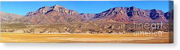 Panorama Sierra Caballo Mountains And Dry Lake Bed Canvas Print by Roena King