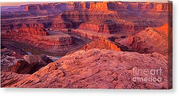 Canvas Print featuring the photograph Panorama Sunrise At Dead Horse Point Utah by Dave Welling