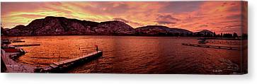 Canvas Print featuring the photograph Panorama Sunset Skaha Lake by Guy Hoffman