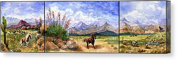 Panorama Triptych Don't Fence Me In  Canvas Print