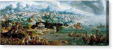 Panorama With The Abduction Of Helen Amidst The Wonders Of The Ancient World Canvas Print