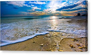 Panoramic Beach Sunset Canvas Print by Eszra Tanner