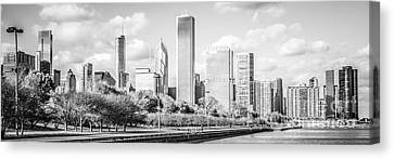 Panoramic Chicago Skyline Black And White Photo Canvas Print by Paul Velgos