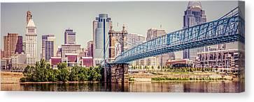 Panoramic Cincinnati Skyline Retro Photo Canvas Print by Paul Velgos