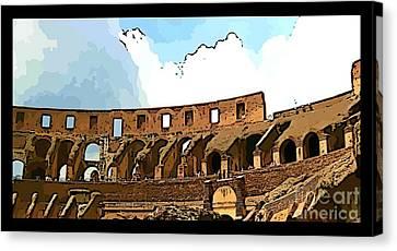 Panoramic Graphic Of The Roman Colisseum Canvas Print