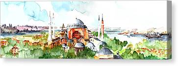 Canvas Print featuring the painting Panoramic Hagia Sophia In Istanbul by Faruk Koksal